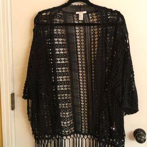 Forever 21 black crochet cardigan